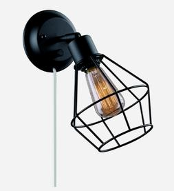 Globe Electric 1-Light Black Shade Plug-in Wall Sconce With