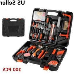 100 PC Garden Home Tool Set Kit Box Repair Hard Case DIY Han