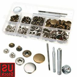 100Pcs Metal Snap Fastener Button Leather Tool Kit For Shirt