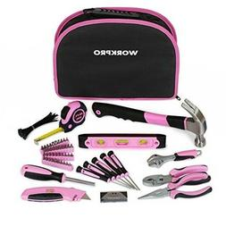 WORKPRO 103-Piece Pink Tool Kit with Easy Carrying Round Pou