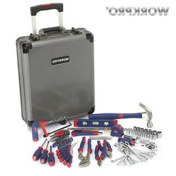 WORKPRO 111PC Tool Set Hand Tool Kit  Aluminum Trolley Case