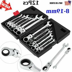 12Pcs  Flexible/Fixed Spanners Ratchet Wrench Polished Tool