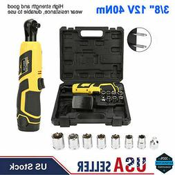 "12V 3/8"" Cordless Electric Ratchet Wrench Tool Set w/ Batter"