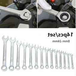 14 Pcs Portable Combination Spanner Wrench Set 8-24mm Crafts