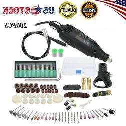 200pc Rotary Tool Kit Electric Mini Drill Accessory Set for