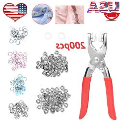 200pcs Prong Pliers Ring Press Studs Snap Popper Fasteners D