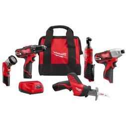Milwaukee 2498-25 M12 5-Tool Combo Kit Drill Impact Sawzall
