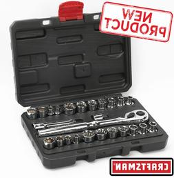 Craftsman 25pc Inch & Metric 3/8 in & 1/4 in Drive Socket Wr