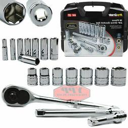 "3/8"" Drive 18 PC Mechanics Socket Wrench Set Ratchet SAE Car"