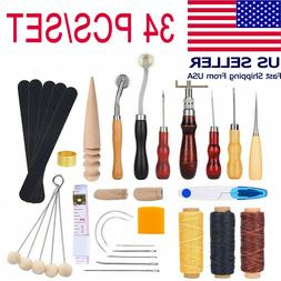 34PCS Leather Craft Hand Working Tools Kit Set Sewing Suppli