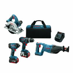 Bosch 18-Volt 4-Tool Combo Kit CLPK420-181 with Charger, 2 B