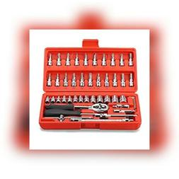 Replaitz 46pcs 1/4-Inch Socket Ratchet Wrench Combo Tools Ki