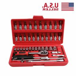 "46pcs Spanner Socket Set 1/4"" Car Repair Tool Ratchet Wrench"
