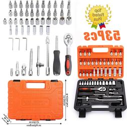 53Pcs Car Repair Tool Case Ratchet Wrench Sleeve Universal J