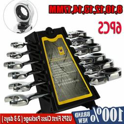 6 pieces metric flexible spanners ratchet wrench