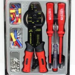 82 Piece Electrical Tool Kit Wire Stripper Crimper Cutter Te