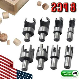 8PCS WOOD PLUG HOLE CUTTER SET DOWEL MAKER CUTTING TOOLS 10m