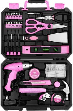 DEKO Pink 98 Piece Tool Set General Household Hand Tool Kit