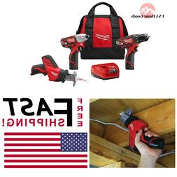 Milwaukee Cordless 3 Tool Combo Kit M12 12 Volt W/ Batteries