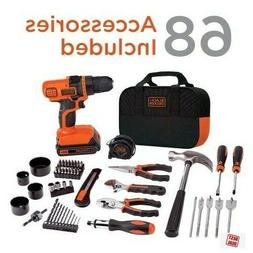 Black Decker Home Tool Kit With 20V Cordless Drill Household