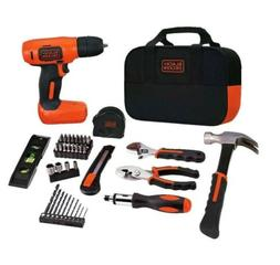BLACK+DECKER Household Home Repair Tool Kit with Cordless Dr