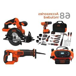 BLACK+DECKER 20V MAX Drill & Home Tool Kit, 68 Piece with Ch