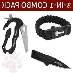 Combo Pack w/ 5-in-1 Carabiner Multitool & Credit Card Knife