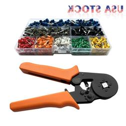 Crimp Tool Kit Ferrule Crimper Plier Wire Stripper + 800 Con