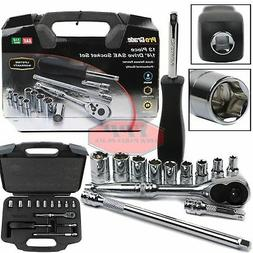 """13 PC 1/4"""" Drive Ratchet Socket Set Wrench SAE Carrying Case"""