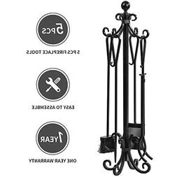 5 Pieces Scroll Fireplace Tools Set Black Cast Iron Fire Pla