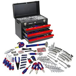 WORKPRO 408PC Handtool Set 3-Drawer Metal Box Repair Tool Ki