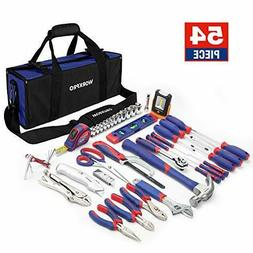 WORKPRO Home Repair Tool Kit with 3AAA COB Work Light and Co