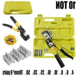 Hydraulic Crimping Tool Kit 10T Cable Crimper Dies Wire Term