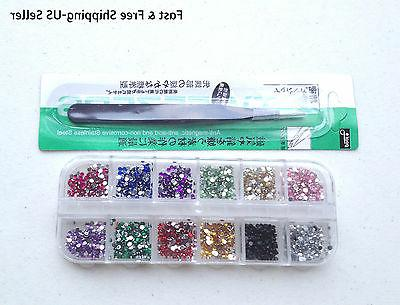 1000 12 color 2mm rhinestones and 1