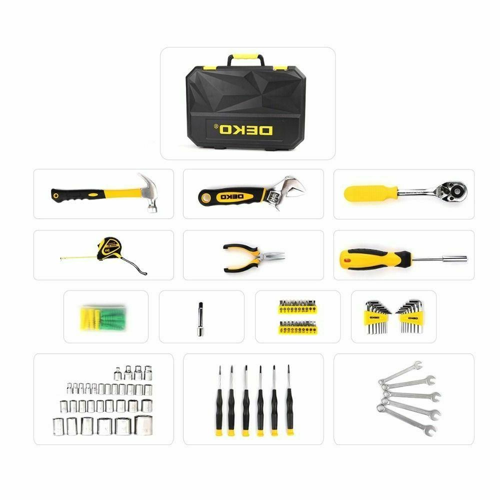 DEKO 128PC Mechanics Tool Kit Set Metric Socket Screwdriver