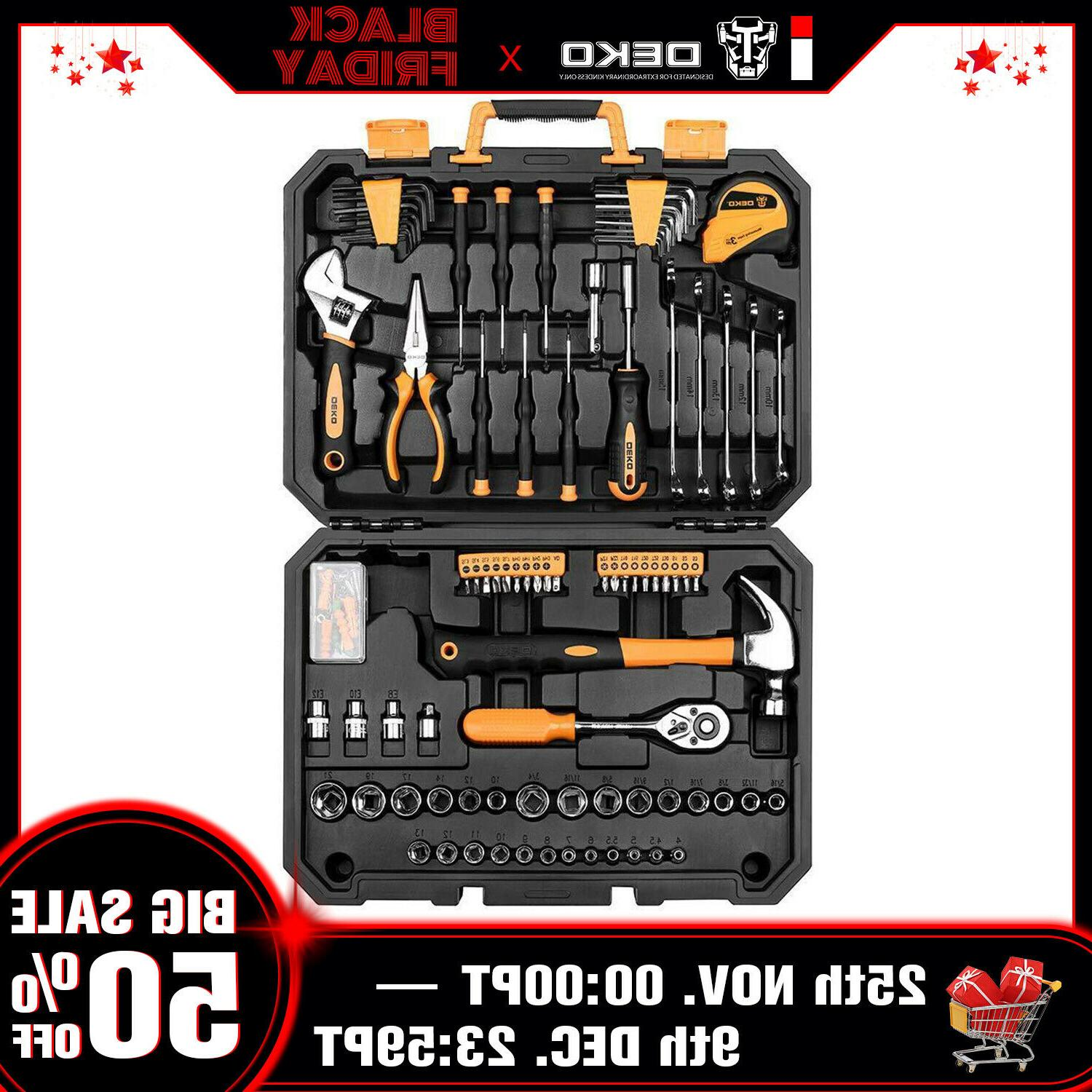 128pc mechanics hand tool kit set deluxe