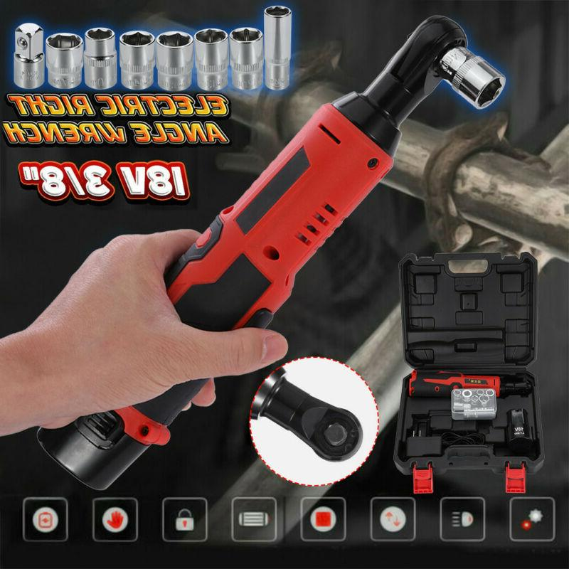 Cordless 3/8In Electric 18V Ratchet Wrench Tool Set w/ Batte