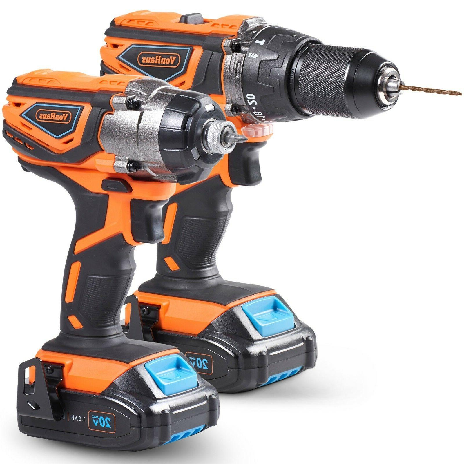 VonHaus Cordless 2-TooI Drill Driver Combo Kit Charger
