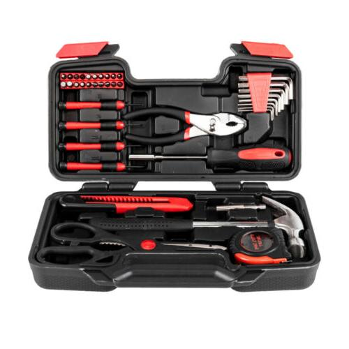 Portable 39pcs Red Basic Tool Set Household Mechanics Tool K