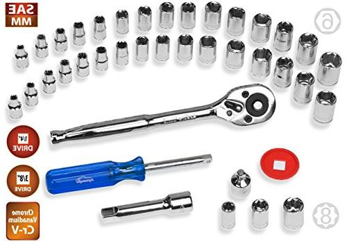 40 1/4-Inch Drive Socket Set with Ratchet