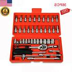 46pcs Car Repair Tools Set 1/4'' Ratchet Wrench Combo Tools