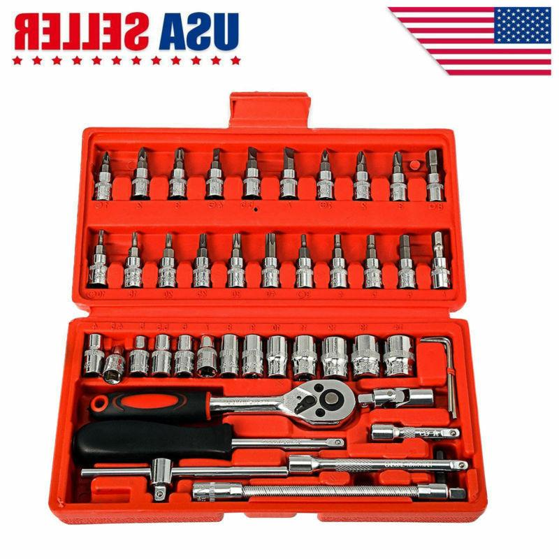 46pcs spanner socket screwdriver 1 4 car