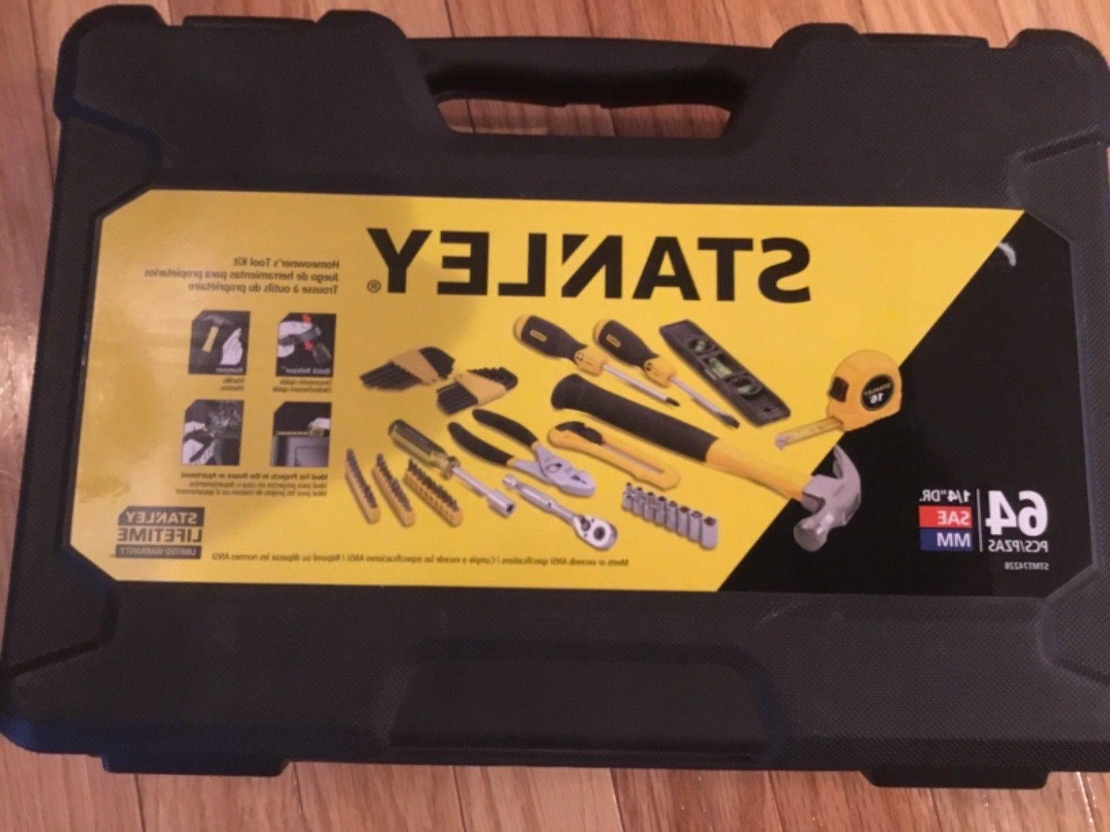 """STANLEY 64 PIECES HOMEOWNER'S TOOL KIT 1/4"""" DR. SAE MM--NEW"""