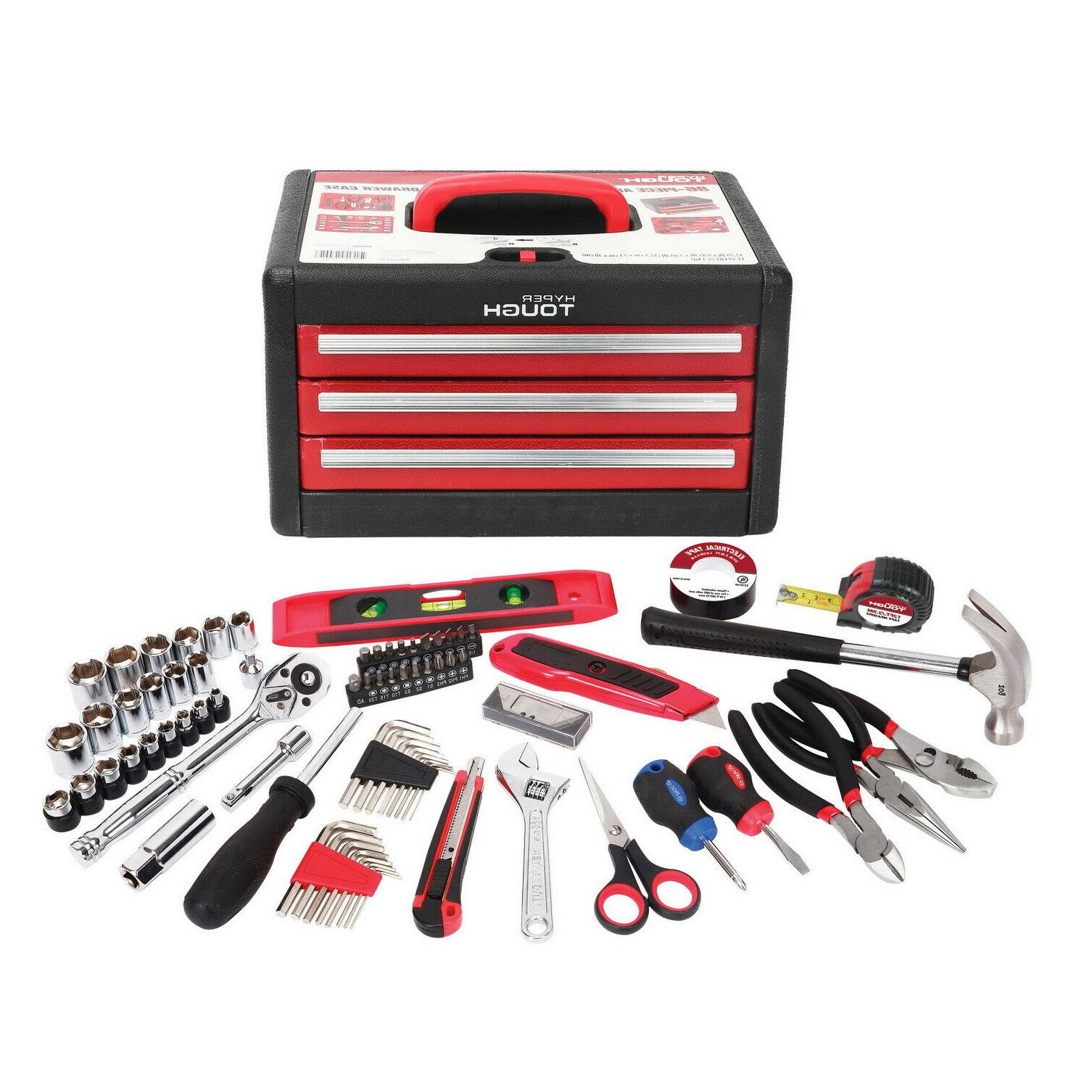 86  Piece Tool Kit With Tool Box Multiple Handheld Tools Scr