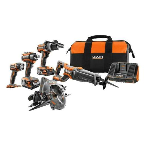 RIDGID 18 Volt Lithiumion Brushless 5 Piece Combo Kit Power