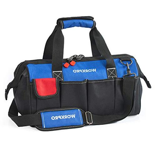 WORKPRO 18-inch Close Top Wide Mouth Storage Tool Bag with A