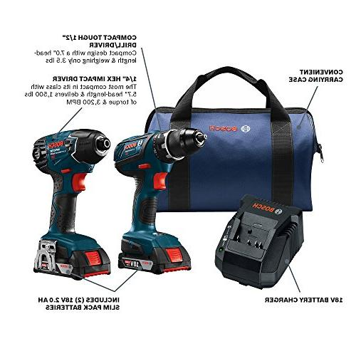 Bosch Set CLPK232A-181 Two Kit– Includes Hex Impact Batteries, Bag HVAC