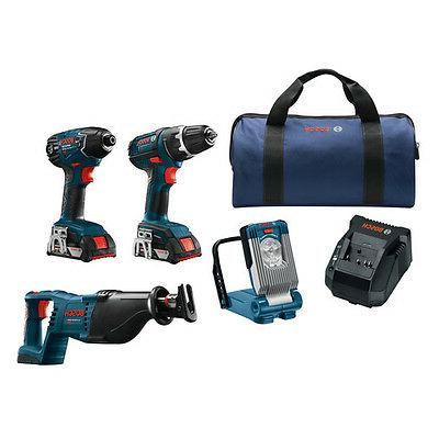 Bosch CLPK495-181 18-Volt 2.0Ah 4-Tool Drill/Driver Reciprocating Saw Kit
