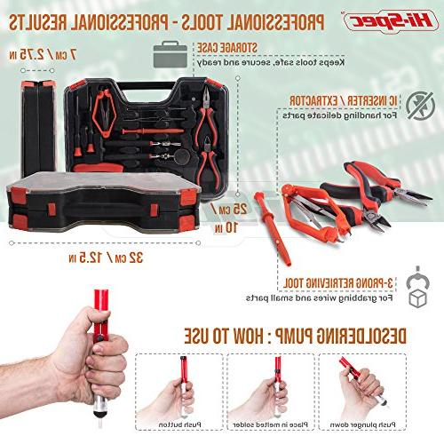 Hi-Spec Electrical Tool Kit with Soldering Iron, Desoldering Pump, Wire Crimper, Stripper, Screwdriver Extractor Tool in Case