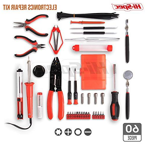 Hi-Spec Electronics with 30W Desoldering Stripper, Cutter, Magnetic Screwdriver Bits, Extractor Tool in Case